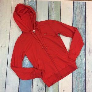 Lacoste Women's Red Zip Up Hoodie 36 4 S